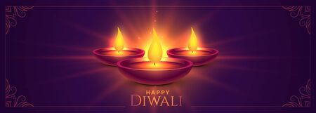 glowing happy diwali diya lamps wide banner