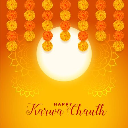 happy karwa chauth festival card with full moon and marigold flower Vettoriali