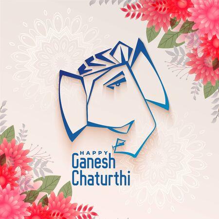 traditional festival of ganesh chaturthi background design Vector Illustration