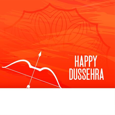 happy dussehra festival orange greeting with bow and arrow