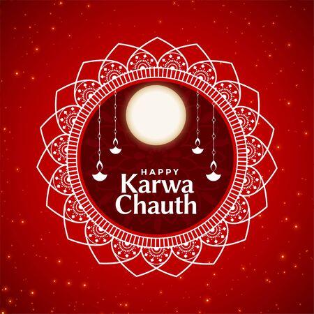 ethnic style happy karwa chauth festival card design Vettoriali