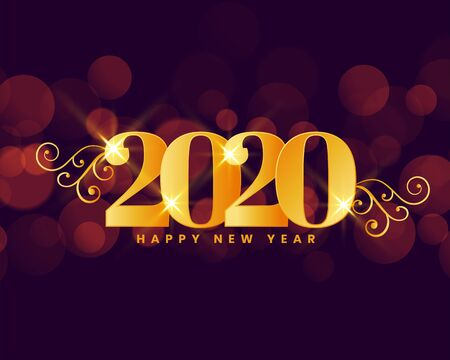 happy new year 2020 golden royal greeting design background