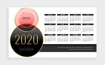 year 2020 calendar template design in luxury style Illusztráció
