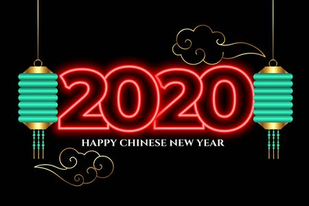 attractive 2020 neon style happy chinese new year background