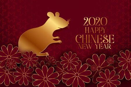 happy chinese new year of the rat traditional background