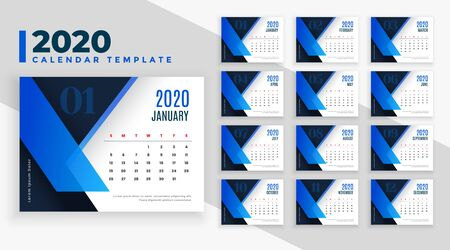 2020 business style calendar template design in blue theme