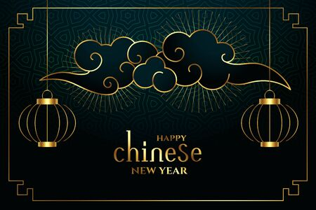 happy chinese new year in golden style background Stock Illustratie