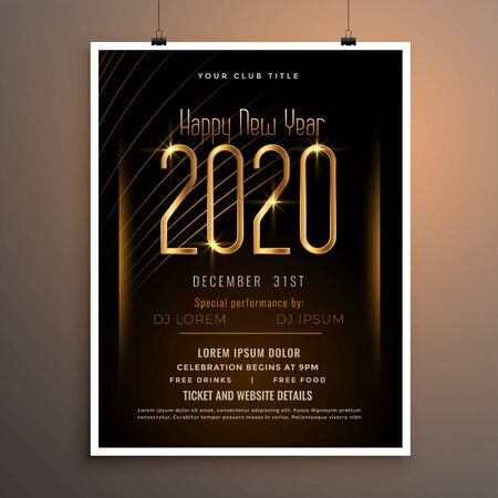 new year 2020 party flyer poster in black and gold colors