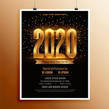 new year 2020 flyer design in black and gold colors