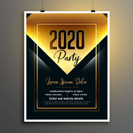 golden black 2020 new year party flyer template design