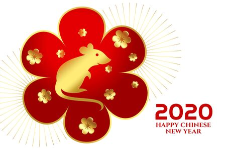 2020 happy chinese new year of the rat festival background Stock Illustratie