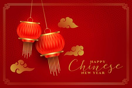 happy chinese new year traditional red background design Stock Illustratie