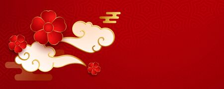 red chinese banner with flower and clouds