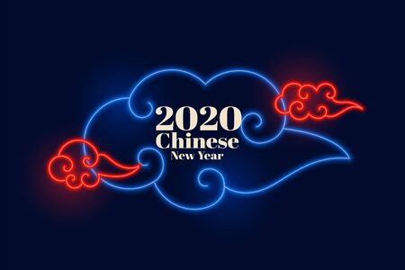 chinese new year neon clouds background design
