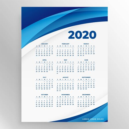 stylish 2020 new year calendar design template in blue colors
