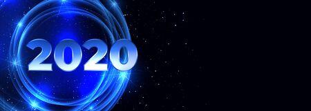 2020 happy new year neon blue banner design
