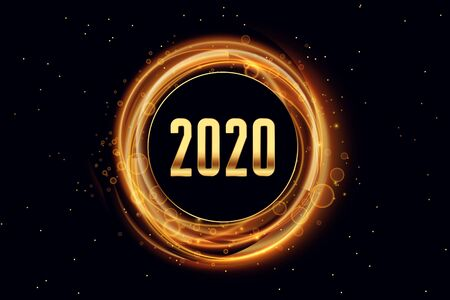 2020 happy new year light effect style background design