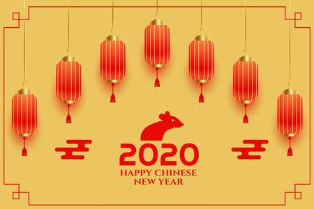 decorative chinese new year 2020 greeting background design