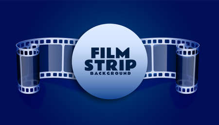 film reel strip in blue color background Çizim