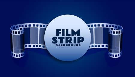 film reel strip in blue color background Illustration