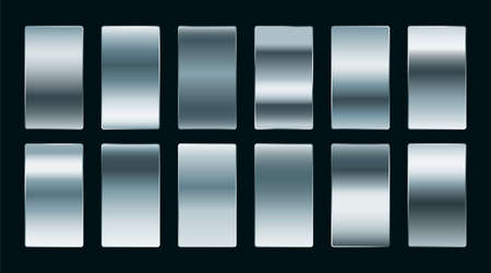 shiny steel or silver gradients set in matte finish
