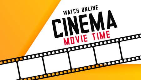 online digital cinema movie time background with film strip