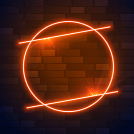 circle brown or orange neon frame with text space