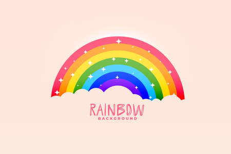 cute rainbow and clouds pink background stylish design Ilustrace