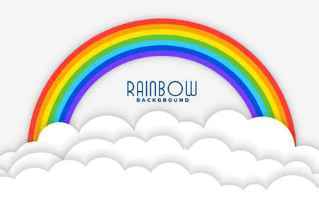 rainbow background with white papercut clouds design