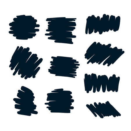set of abstract scribble bold pen elements