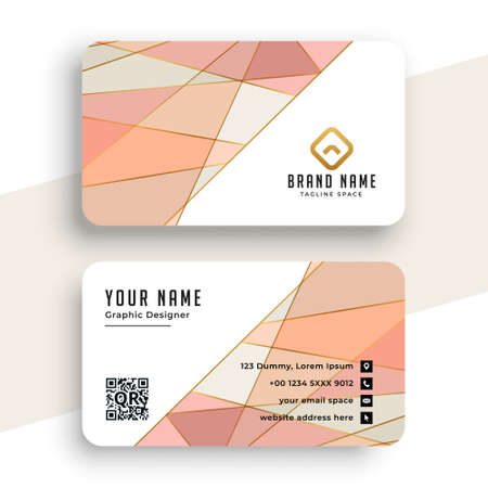 elegant pastel color low poly business card design