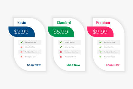 cleam business price table plans web template 일러스트