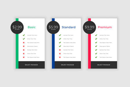 plans and pricing comparision template for websites and app 일러스트