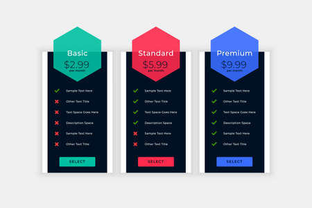 web pricing table with plan details design