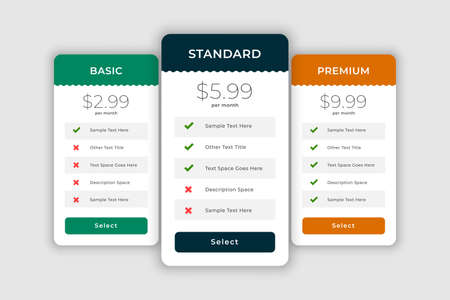 web comparision boxes for plans and pricing