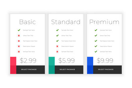 minimal web plans and pricing comparision template design