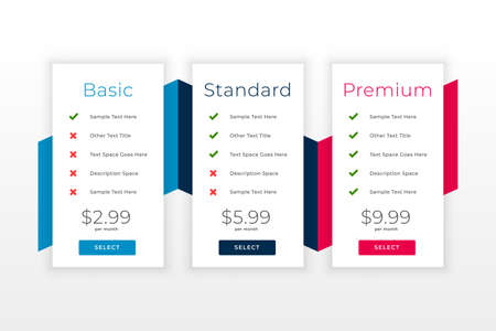 subscription plans and pricing table web template 일러스트