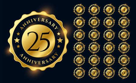 golden anniversary labels logotype emblems big set
