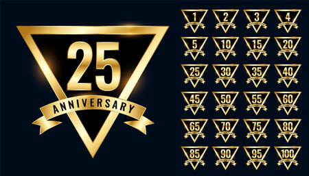 luxury golden anniversay labels and emblem logotype set