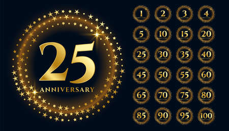 beautiful gold anniversary labels in premium style