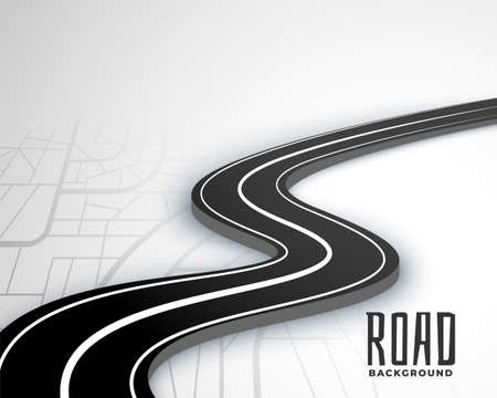 winding 3d road pathway on map style background