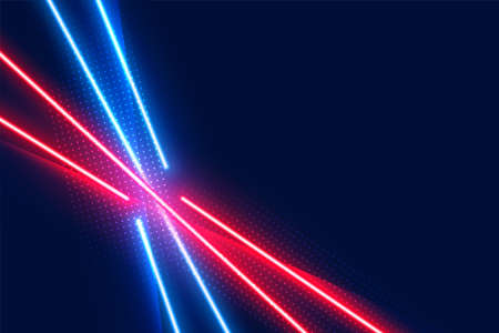 neon led light effect lines in blue and red colors Illusztráció