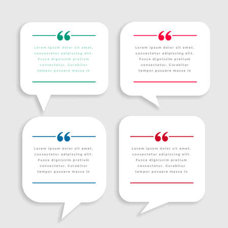 white chat bubble style quote mark template design