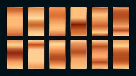 copper or rose gold premium gradient swatches palette set