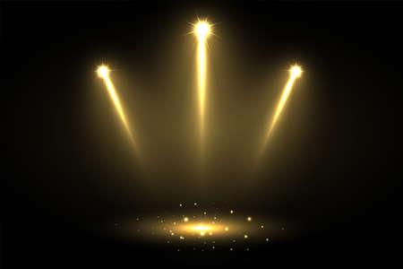 three shiny focus spotlights pointing towards center