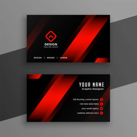 red and black geometric business card design template