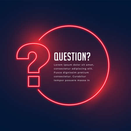 neon style question mark template for help and support