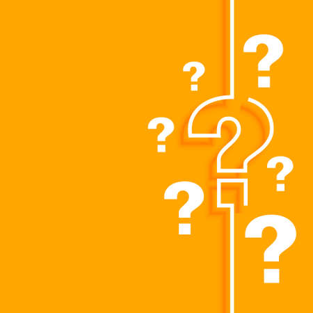 orange question mark background with text space