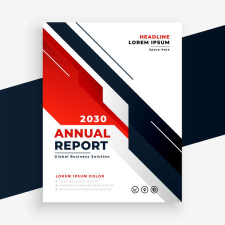 geometric red business annual report flyer template design Vettoriali