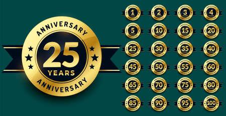 premium golden anniversary labels or emblems logotype set